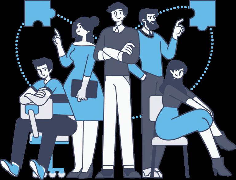 illustration of multiple business partners