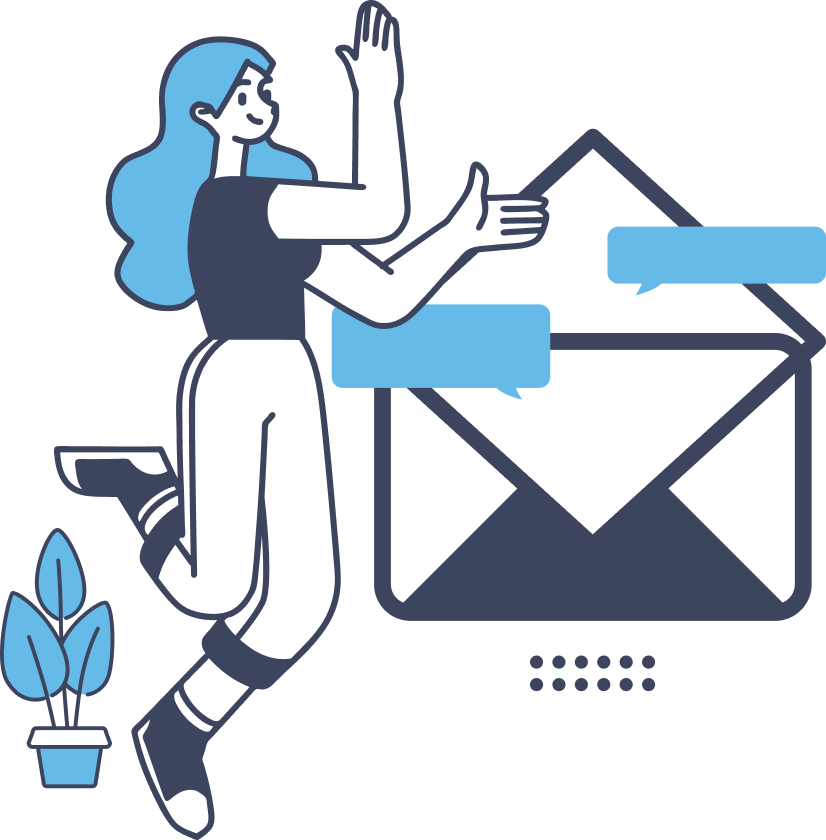 illustration of woman standing next to email